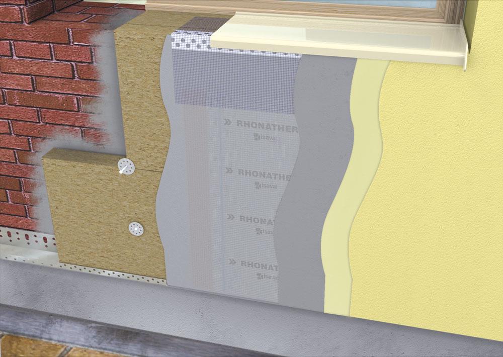 Diferentes capas del sistema de aislamiento SATE rhonatherm